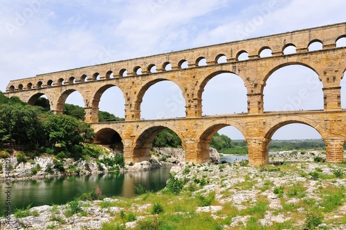 Fotografía The Pont du Gard, ancient Roman aqueduct bridge, south of France