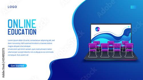 Fotografía Online courses e-learning vector background. Vector illustration