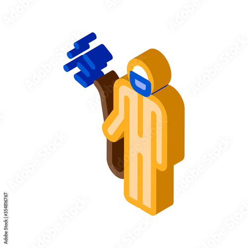 Human with Chemical Aerosol Icon Vector Wallpaper Mural