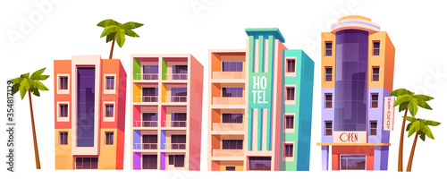 Buildings, hotels in Miami at summer time, modern house architecture. Isolated multistory dwellings, stores and restaurants with glass windows and palm trees around, Cartoon vector illustration, set