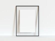 Vertical Black Thin Empty Frame Mock Up On White Wall. 3d Illustration.