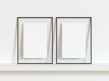 Two Vertical Black Thin Empty Frame Mock Up On White Wall. 3d Illustration.