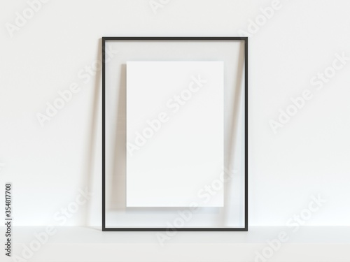 Vertical black thin empty frame mock up on white wall Canvas Print