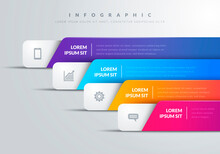 Vector Illustration Modern Infographic With 4 Colorful Bars And Icons