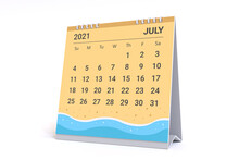 3D Rendering - Calendar For July With Summer Beach Theme. 2021 Monthly Calendar Week Starts On Sunday.