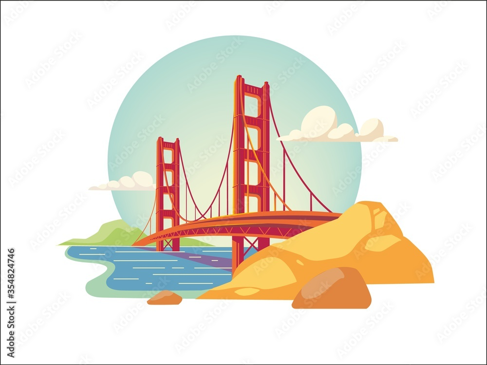 Fototapeta golden gate bridge of san francisco california usa isolated vector illustration
