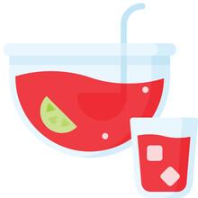 Fruit Punch Icon, Beverage Fla...