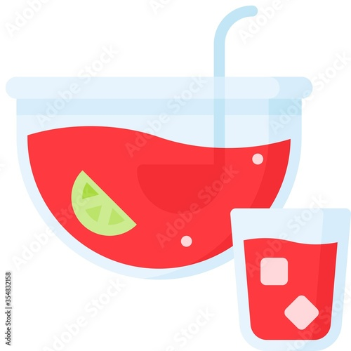 Obraz na plátně Fruit punch icon, Beverage flat vector illustration