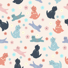 Funny Seamless Texture With Cats And Flowers. Endless Animals And Floral Pattern. Seamless Pattern Can Be Used For Wallpaper, Pattern Fills, Web Page Background,surface Textures.