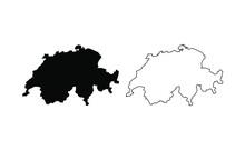 Switzerland Map Silhouette Lin...