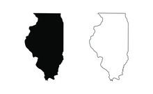 Illinois State Silhouette, Line Style. America Illustration, American Vector Outline Isolated On White Background