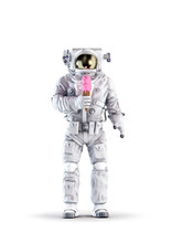 Astronaut With Ice Cream / 3D Illustration Of Space Suit Wearing Male Figure Holding Pink Strawberry Ice Cream Cone Isolated On White Studio Background