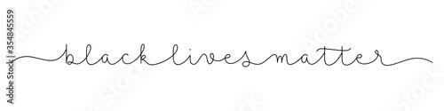 Obraz BLACK LIVES MATTER black vector monoline calligraphy banner with swashes - fototapety do salonu