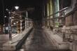 Landscape shot of urban handrail in the night