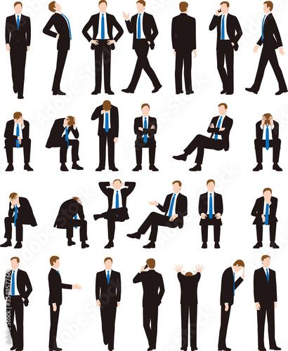Obraz na plátně ビジネスマン、会社員、動き、ポーズ、正面、座る、歩く、落ち込む、絶望、人物、白バック、男性、スーツ、仕事、失敗、悩む、不安、憂鬱、困る、全身、背中、横顔、スマホ