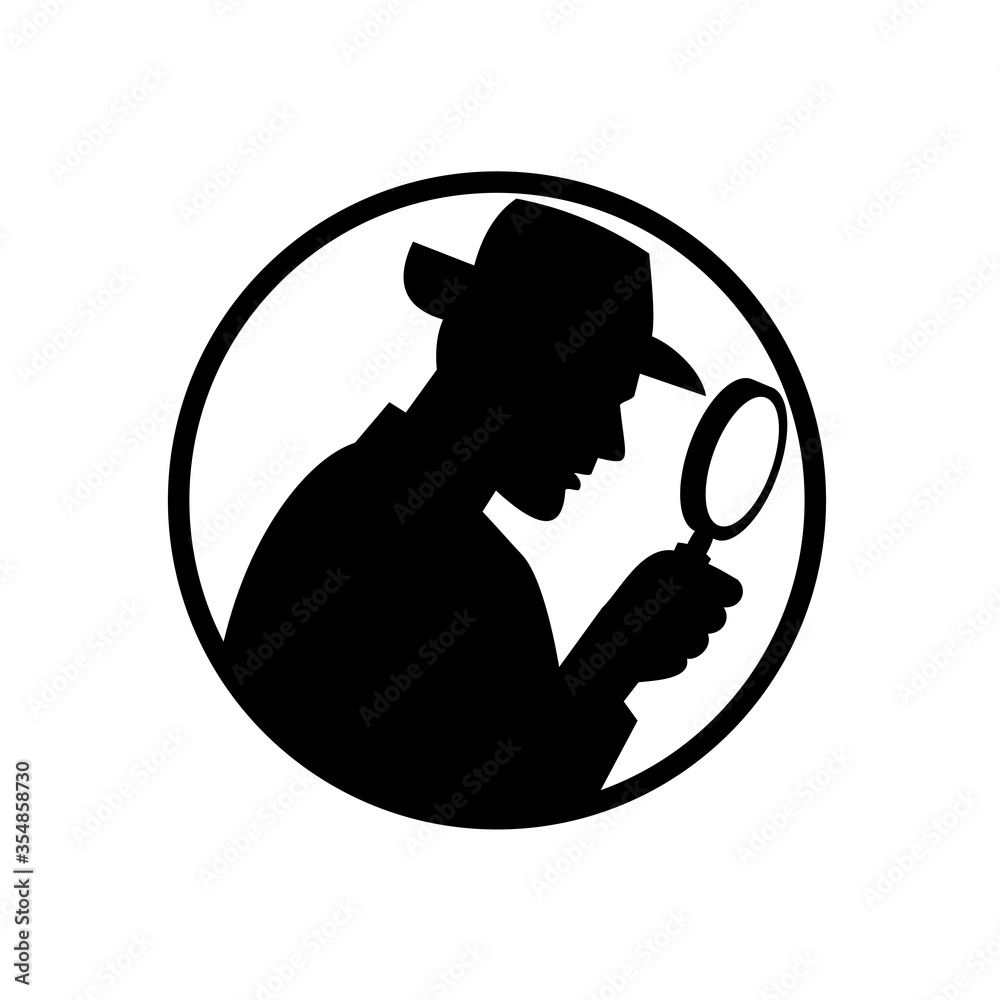 Fototapeta Detective With Magnifying Glass Silhouette Circle Black and White