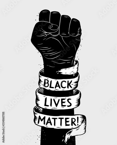 Foto Protest poster with text BLM, Black lives matter and with raised fist