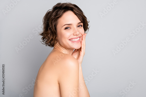 Obraz Closeup profile photo of beautiful nude lady short bob hairdo rejuvenation spa salon procedure soft facial skin touch arms cheekbone aesthetic isolated grey color background - fototapety do salonu
