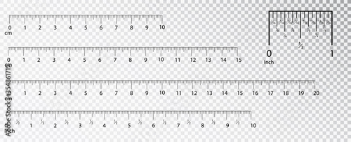 Fotografia, Obraz Rulers Inch and metric rulers