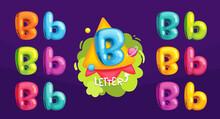 Cartoon Letter B. Kids Color Illustration