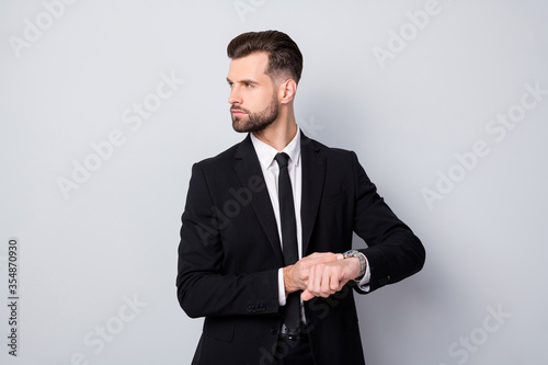 Profile side photo of stylish cool executive worker man appoint meeting with par Canvas Print
