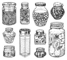 Glass Jars With Berry Jam And ...