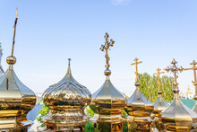 Golden Domes With Crosses Befo...