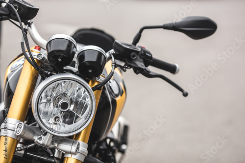 Closeup still of motorbike details. Close shot of motorcycle.