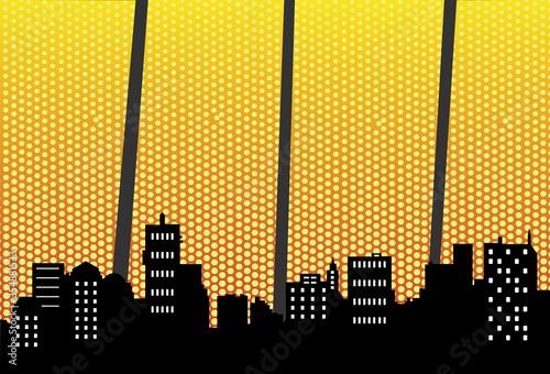 Night cityscape with halftone. Vector illustration retro style. Canvas