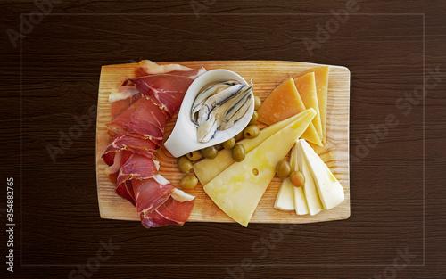 Croatian traditional food, Dalmatian plate Fotobehang