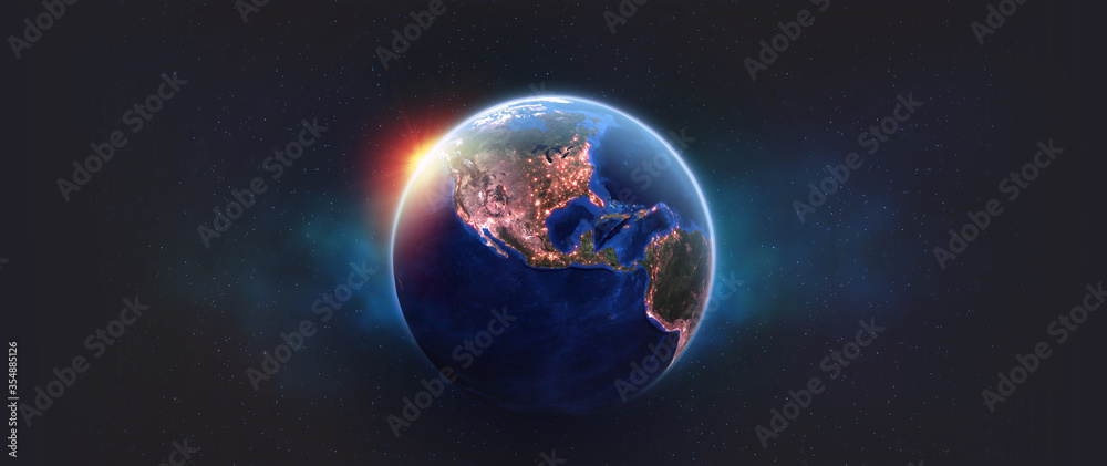 Fototapeta Planet earth in outer space. Night over American continents. Light of night cities in world. Elements of this image furnished by NASA
