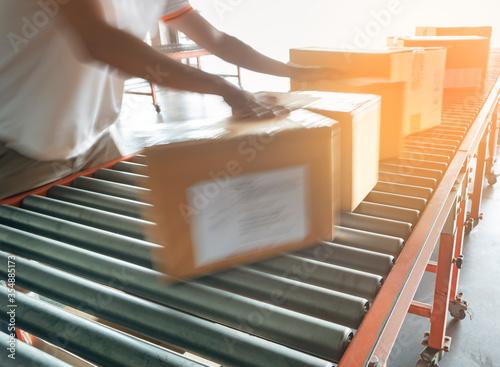 Obraz na plátně Warehouse worker sorting shipment package boxes on conveyor belt in distribution warehouse