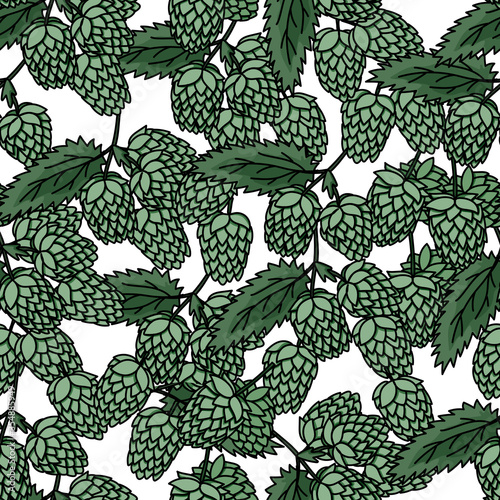 Hop branch with leaves hand drawn doodle style seamless pattern #354885949