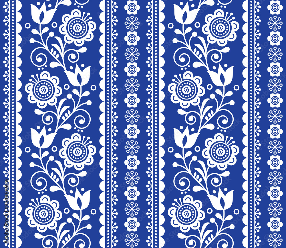 Scandinavian style seamless vector pattern with flowers, Nordic folk art repetitive white on navy blue ornament - horizontal stripes