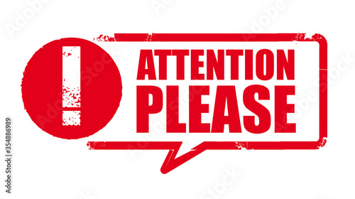 Canvastavla Attention, please sign - red grunge rubber stamp on white background