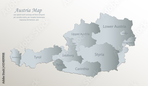 Photo Austria map, administrative division with names, white blue card paper 3D vector