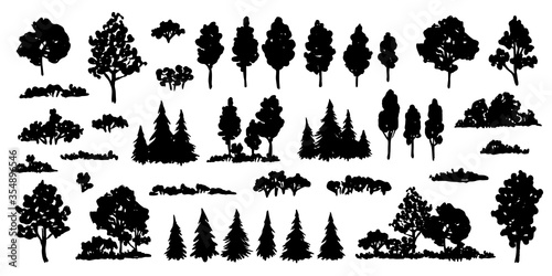 Trees sketch set Fototapet