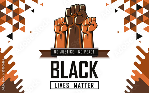 Vászonkép Black lives matter banner for protest, rally or awareness campaign against racial discrimination of dark skin color