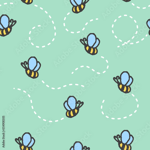 Seamless pattern with cartoon hand-drawn bees on a green background. The trail from the flight of insects is made by a white dashed line. Vector illustration.