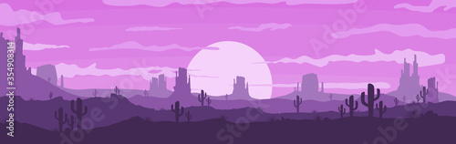 Fototapeta Vector illustration of sunset and twilight desert panoramic view with mountains