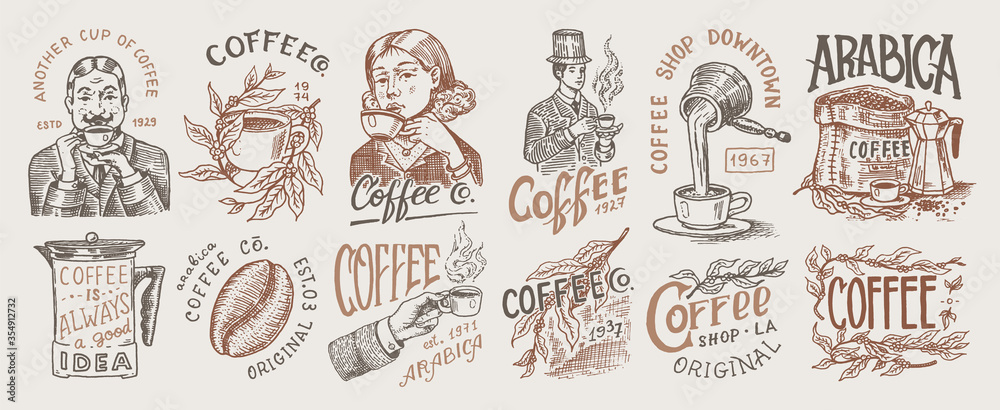 Fototapeta Coffee shop logo and emblem. Cacao beans, grains, cup of drink. Man and girl holds a mug. Vintage retro badges set. Templates for t-shirts, typography or signboards. Hand Drawn engraved sketch.