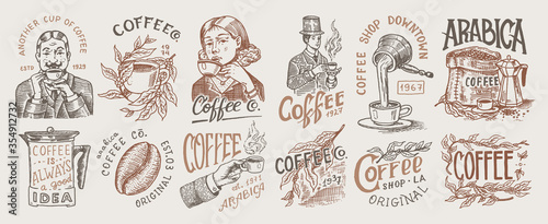 Coffee shop logo and emblem Fototapete