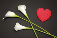 View From The Top On Red Heart And Three Beautiful Nature Calla Lily Isolated On Black Background