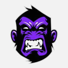 Angry Gorilla Head, Purple Vec...
