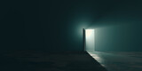 Copyspace design of hope amid the gloom concept, a bright exit door in dark room, the light at the end of the tunnel