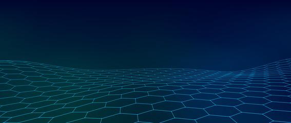 Sažetak plave pozadine pokretnih čestica. Futuristička mreža. Velika količina podataka. Vektorska ilustracija