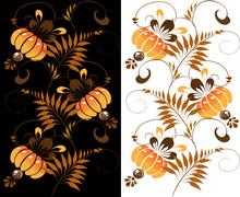 Ukrainian Orange Ornament On A Black And White Background