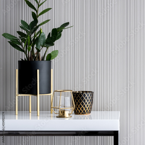 Fototapeta Stylish decorations on white console table, close-up obraz