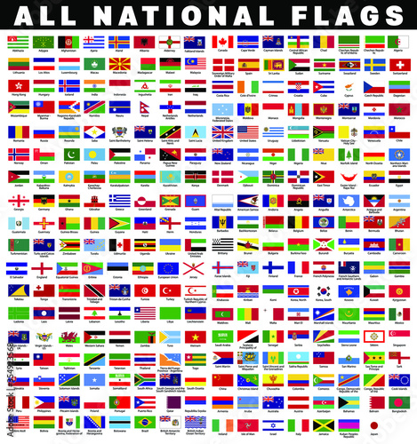 Fototapeta Collection of all national country flags with names flat icon with vector file. obraz