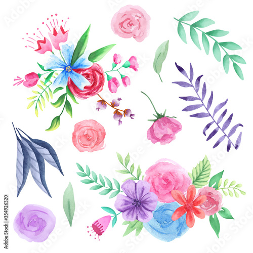 Valokuva Hand drawn watercolor floral collection
